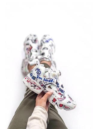 Стильные расписанные кроссовки reebok в белом цвете (весна-лето-осень)😍