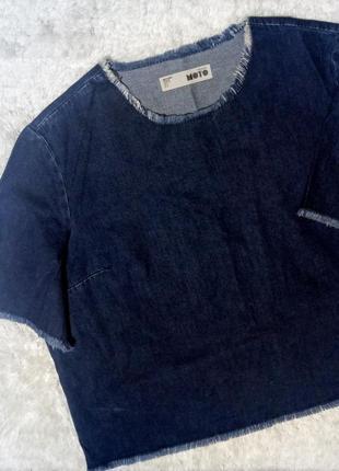 Трендовая джинсовая блуза большого размера