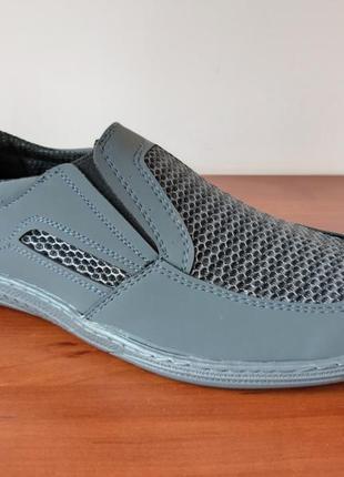 Мужские летние туфли мокасины сетка