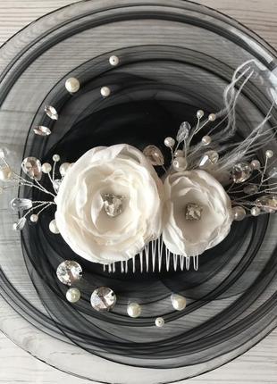 Свадебный гребень ivory с перьями