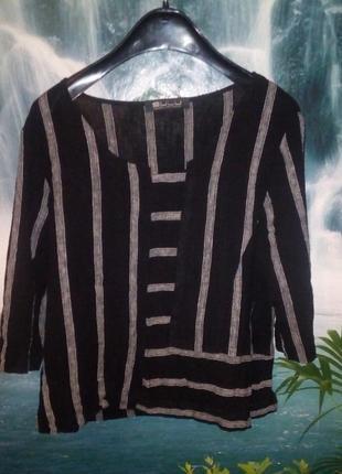 Льняная блуза в полоску