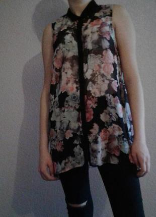 Блузка -туника размер 12-14 с цветочным принтом
