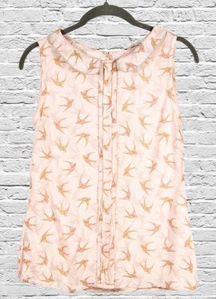 Нежная розовая блуза без рукавов, летняя блуза с принтом, блуза розовая
