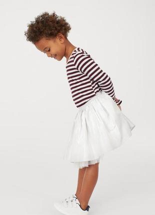 Фатиновая серебрянная юбка на 2-4 и 4-6 лет h&m