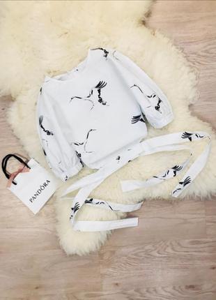 Эксклюзивный топ блузка рубашка zara принт аист2 фото