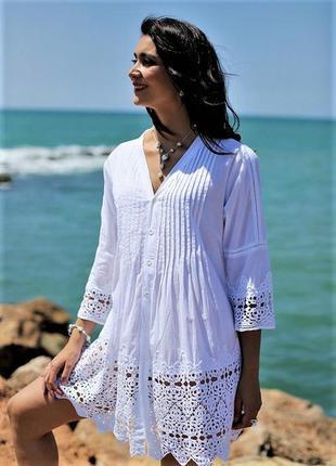 Женская летняя белая пляжная туника платье с рукавом и кружевом из хлопка код 336 f