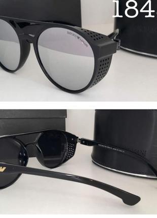 Стильные солнцезащитные очки с шорами зеркальные серебристые линзы