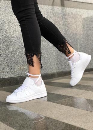 Стильные женские кеды adidas в полностью белом цвете из кожи (весна-лето-осень)😍