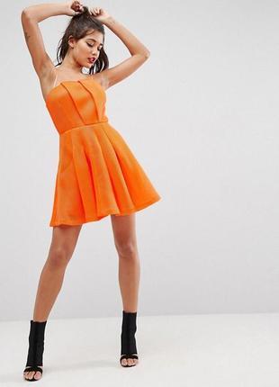 Акция 2=3 платье бандо бюстье коктейльное шифоновое неон неоновое мини от miss selfridge