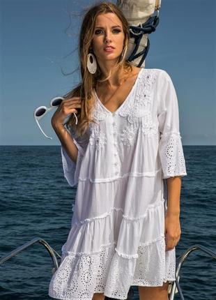 Женское летнее белое платье туника с кружевом прошвой вышивкой испания код 1610