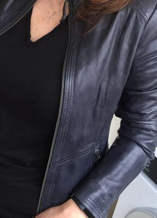 Итальянская кожаная куртка темно-серого цвета real leather, оригинал