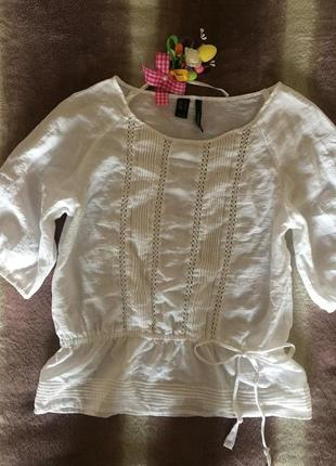 Летняя блуза белого цвета с рукавом s\m нежная блузка mango