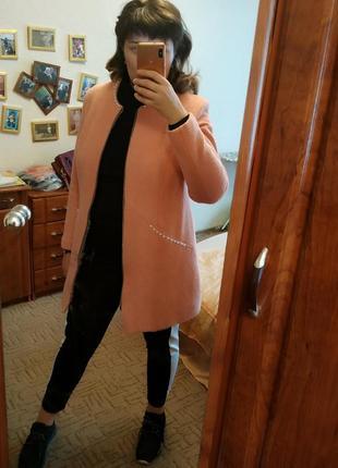 Пальто теплое шерсть в стиле шанель 48-50-52 р 14-16 хл-ххл