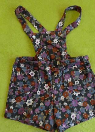 Ромпер комбинезон комбез шорты на 4-5 лет цветочный принт в цветочек  яркий