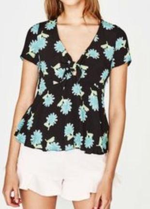 Блуза топ zara в квіти бант цветы принт