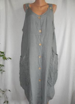 Стильное льняное платье италия