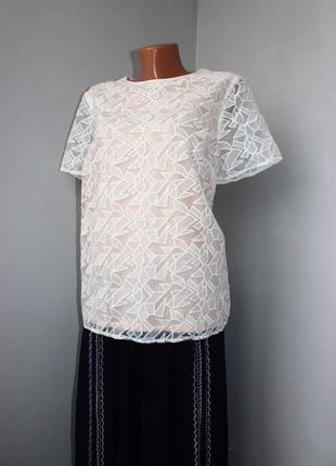 Блуза кофточка двойная: беж и органза в кубики,  m&s, 16