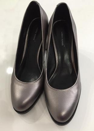 Стильные кожаные туфли цвета бронзы