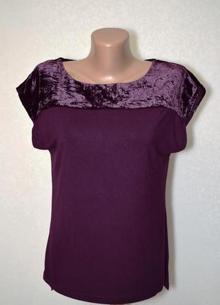 Блуза со вставками бархата crew с натуральной ткани, р.s
