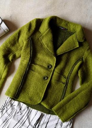 Зелёный оригинальный шерстяной пиджак, валяная шерсть