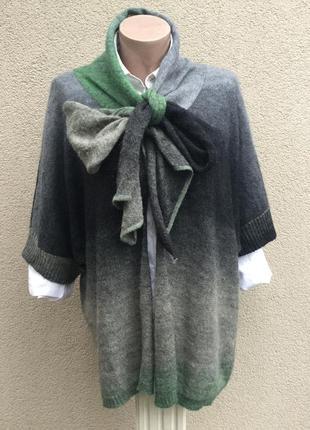 Тонкий,вязаный,мохер-шерсть кардиган с шарфом,кофта-реглан,жилет,большой размер