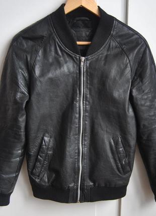 Кожаная натуральная куртка бомбер asos / шкіряна куртка