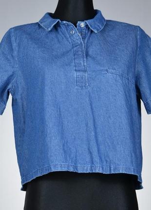 Zara джинсова укорочена рубашка сорочка блуза