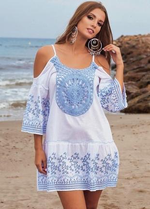 Женская летняя белая пляжная туника платье с вышивкой и кружевом 1320