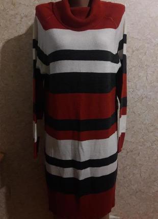 Полосатое кашемировое платье-туника