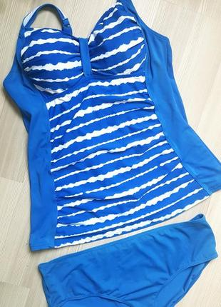 Купальный костюм купальник раздельный топ майка фирменный синий 46