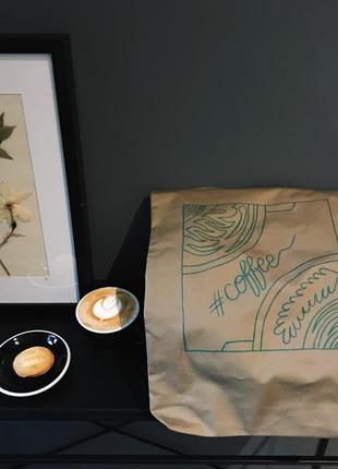 Эко-сумка-шоппер-торба @don.bacon коричневая с рисунком кофе латте арт