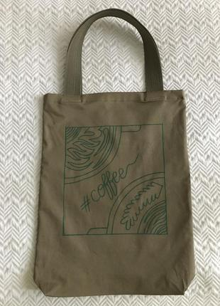 Эко-сумка-шоппер-торба @don.bacon коричневая с рисунком кофе латте арт2 фото