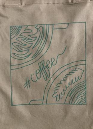 Эко-сумка-шоппер-торба @don.bacon коричневая с рисунком кофе латте арт4 фото