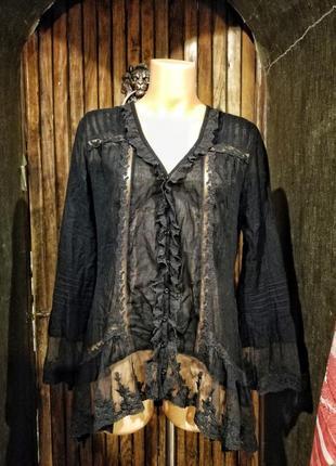 Блуза рубашка коттон хлопок ажурная кружевная кружево rosebud с жабо