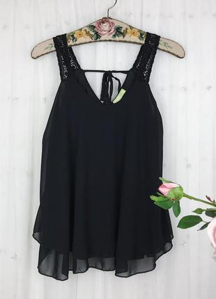 Чернaя шифоновая свободная блуза майка топ с кружевом lemon&go