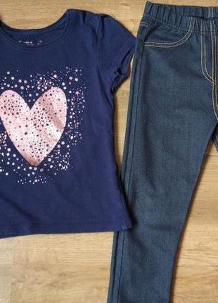 Комплект набор футболка и джегинсы легенсы на 3-5 лет2 фото