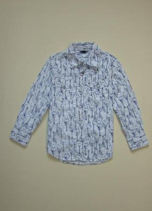 Белая рубашка с гитарами gap 5-6 лет