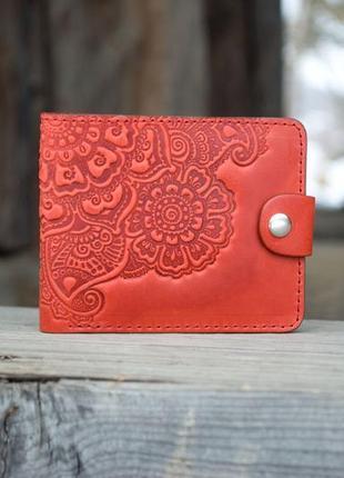 Кожаный женский кошелек красный с орнаментом маленький