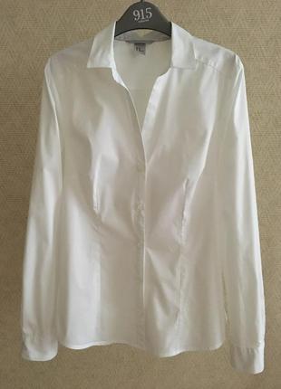 Белая приталенная рубашка h&m