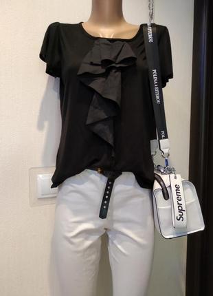 Отличная летняя блузка футболка с модным воланом спереди тонкая хлопок george