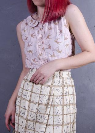Светло-розовая блуза без рукавов, летняя блуза с принтом ласточки next, классическая блуза