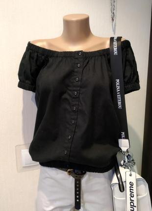 Стильная черная рубашка блузка льняная н