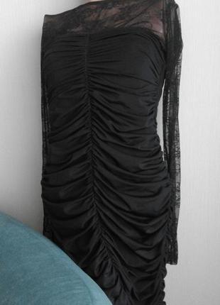 Cтильное сексуальное черное коротенькое платье4 фото