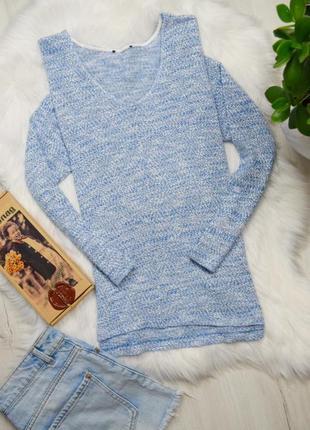 Голубой нежный приятный лонгслив легкий свитер