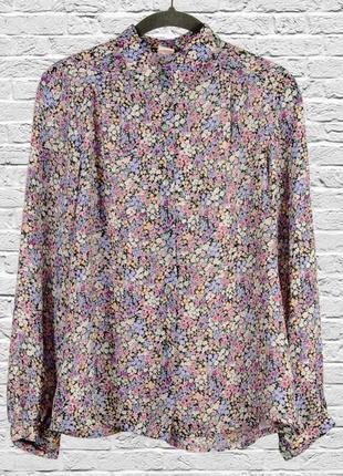 Нежная сиреневая блуза с длинным рукавом, шифоновая блузка с длинным рукавом