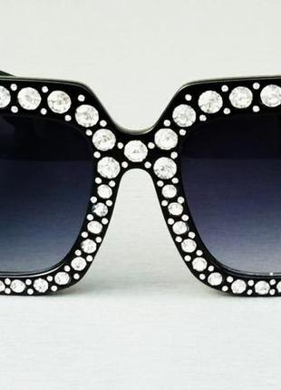 Gucci очки женские солнцезащитные большие квадратные в камнях2 фото