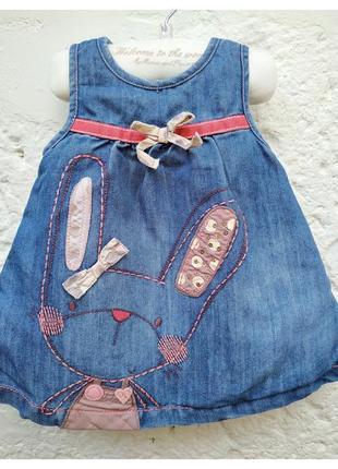 Платье джинсовое next на девочку 3-6 месяцев