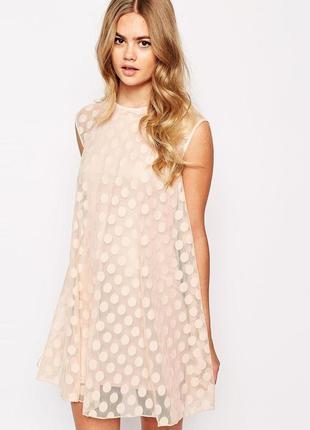 Стильное короткое платье-сетка 46 размер