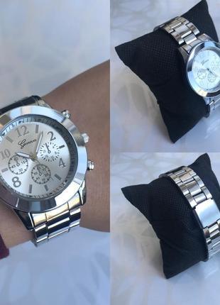 Женские красивые наручные часы женева geneva металлические серебристые
