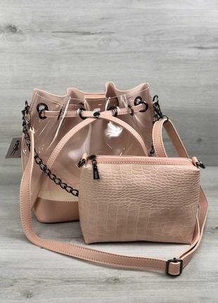 Прозрачная сумка с клатчем через плечо розовая пудровая летняя